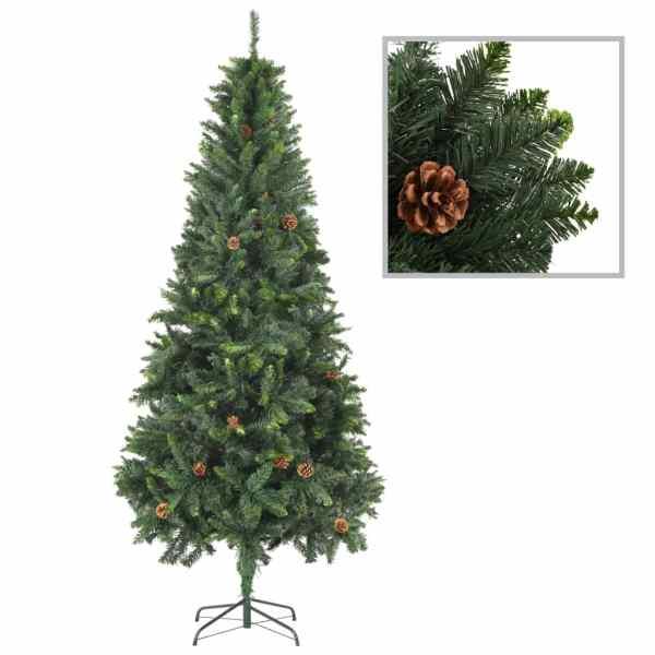 vidaXL Brad de Crăciun artificial cu conuri de pin, verde, 210 cm