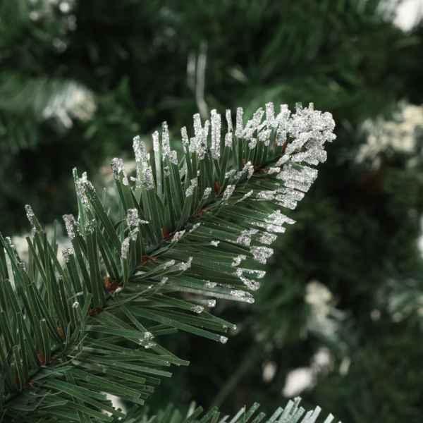 Brad de Crăciun artificial cu conuri pin și sclipici alb 180 cm