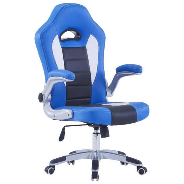 vidaXL Scaun de gaming, albastru, piele ecologică