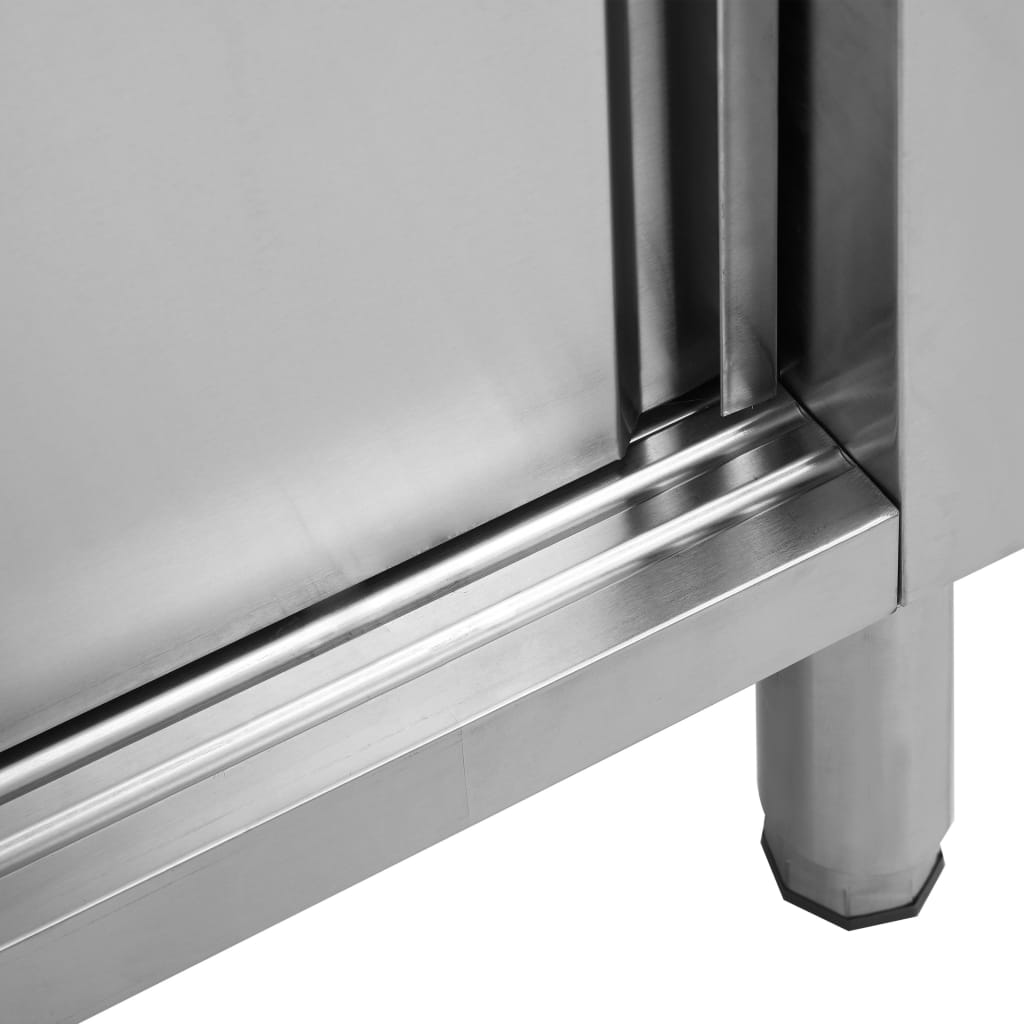 Masă de lucru cu uși glisante, 120x50x95 cm, oțel inoxidabil