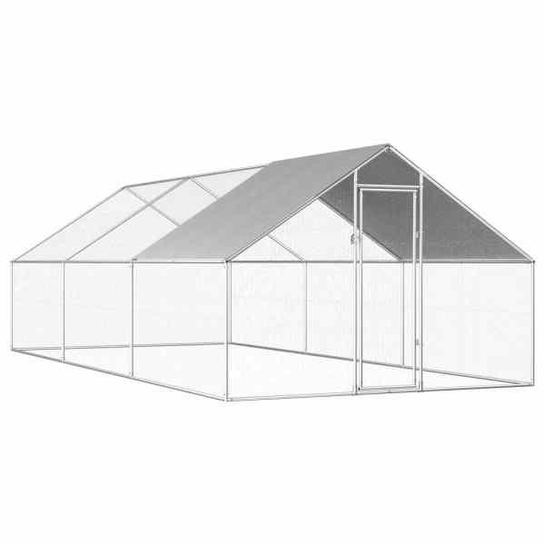 vidaXL Coteț de exterior pentru păsări, 2,75x6x1,92 m, oțel galvanizat