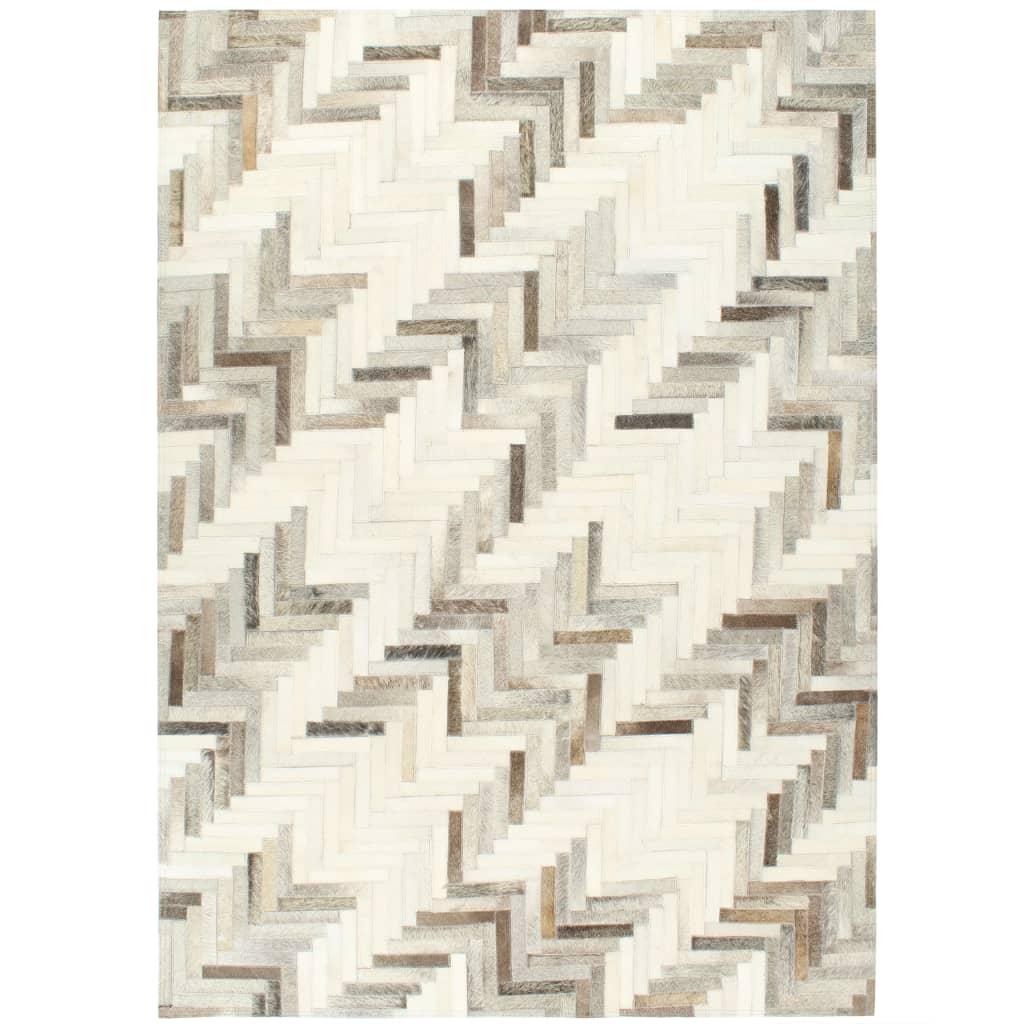 vidaXL Covor, piele naturală cu păr, petice, gri/alb, 120 x 170 cm