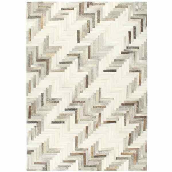 vidaXL Covor piele naturală cu păr, gri/alb, 160×230 cm, petice