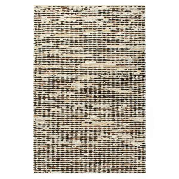 vidaXL Covor, piele cu păr natural, mozaic negru/alb, 80 x 150 cm