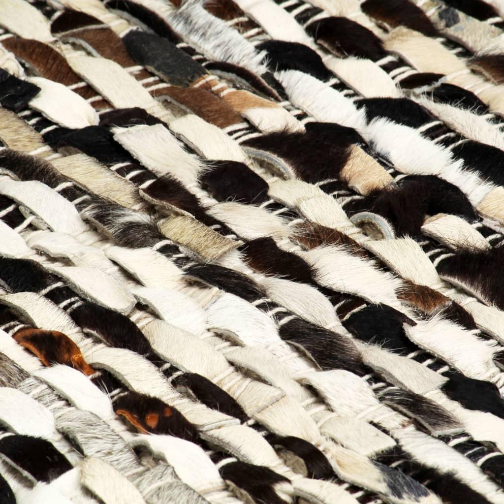 Covor din piele naturală cu păr, negru/alb, 120 x 170 cm