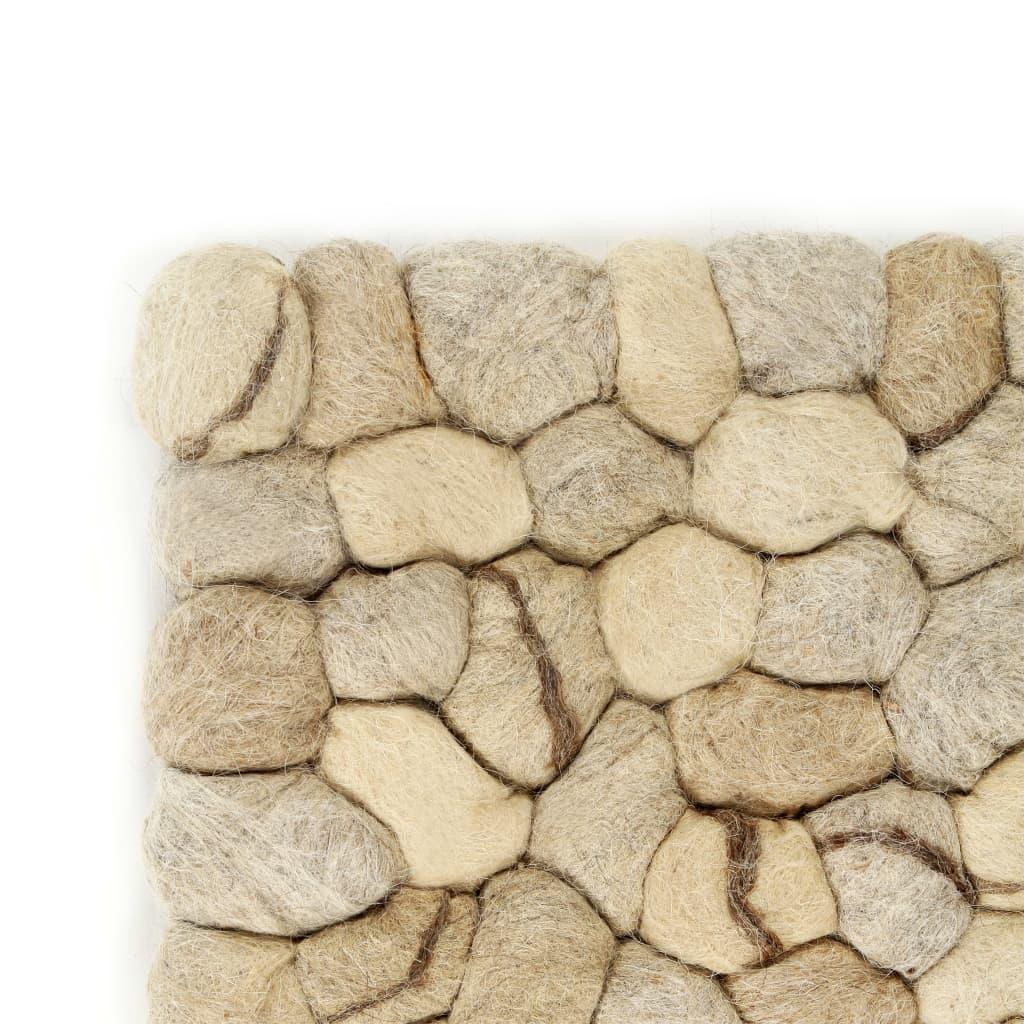 Covor pietricele de pâslă, bej/gri/maro/ciocolată, 80×150 cm