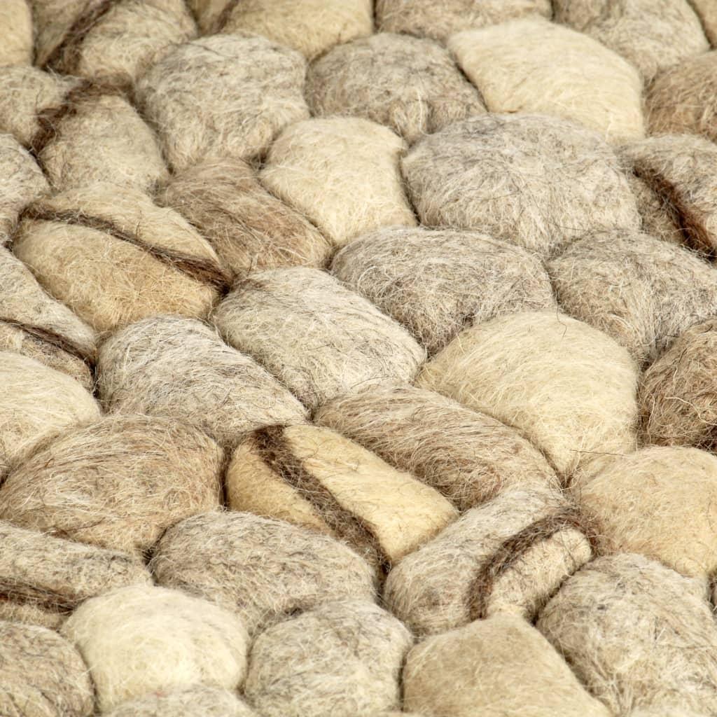 Covor lână, bej/gri/maro/ ciocolată, 140×200 cm, pietre fetru