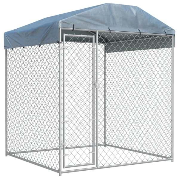 vidaXL Padoc de exterior cu prelată pentru câini, 193x193x225 cm
