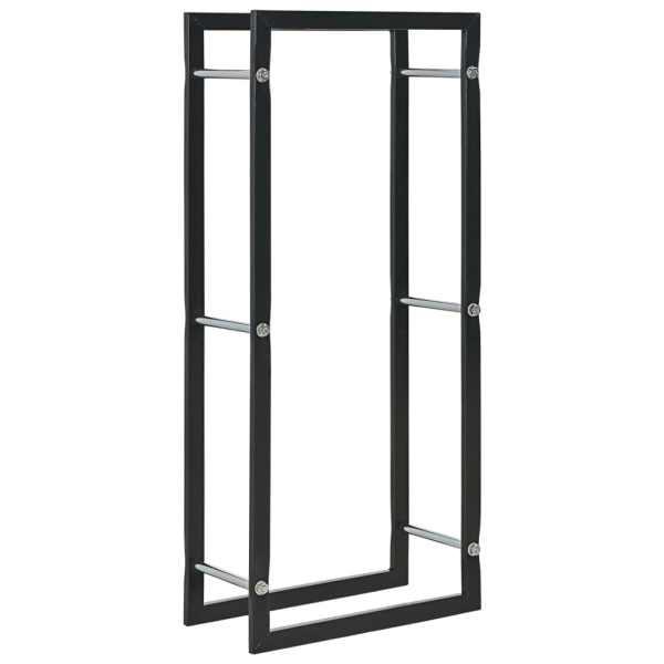 vidaXL Rastel pentru lemne de foc, negru, 44x20x100 cm, oțel