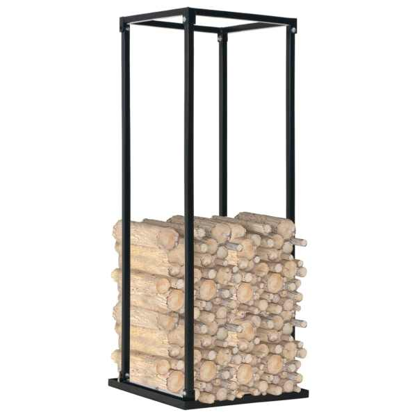 vidaXL Rastel lemne de foc, cu postament, negru, 37x37x113 cm, oțel