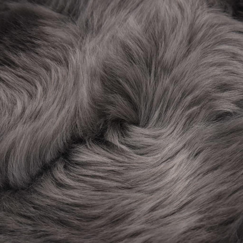 Covor din blană de oaie, gri deschis, 60 x 90 cm