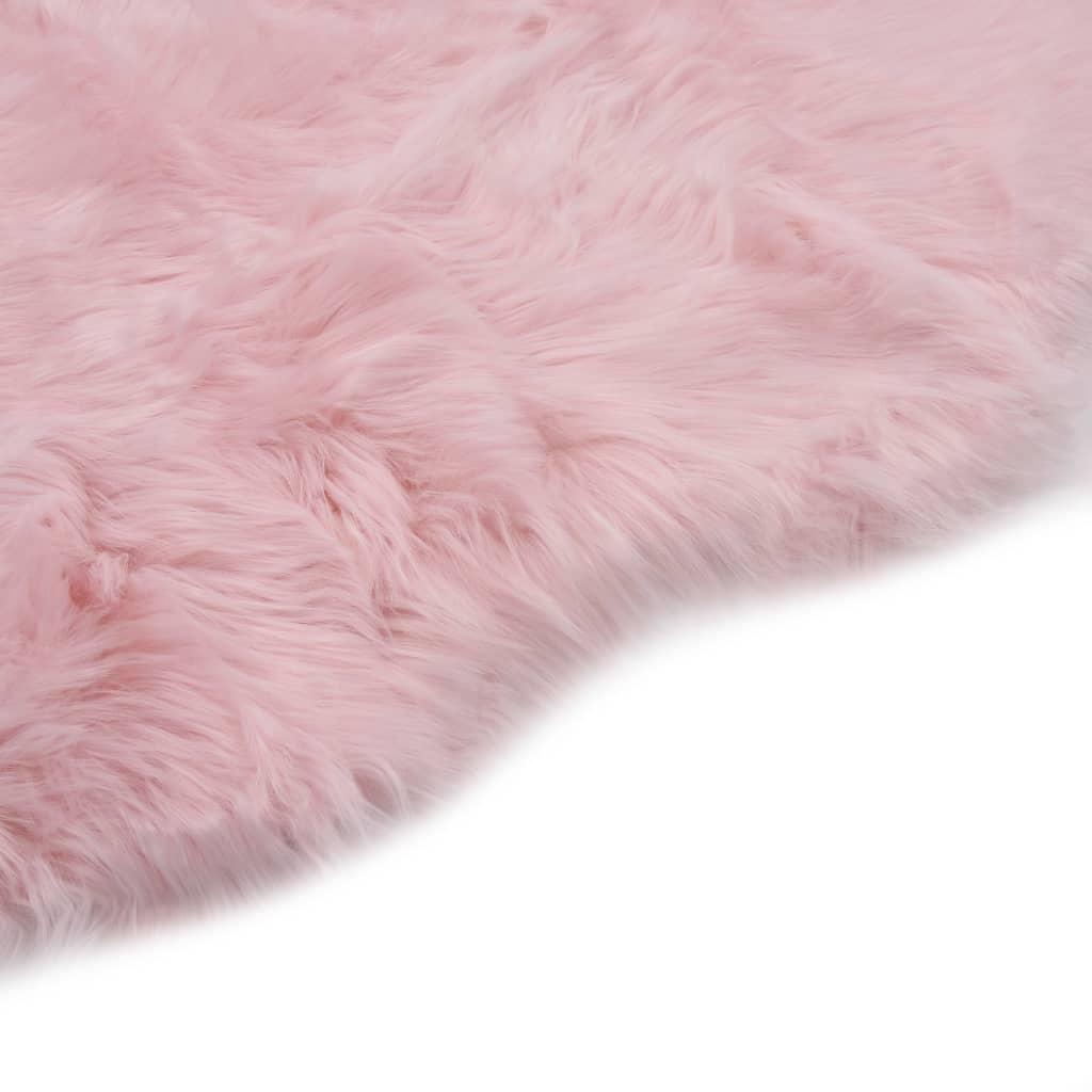 Covor, roz, 60 x 90 cm, imitație blană de oaie