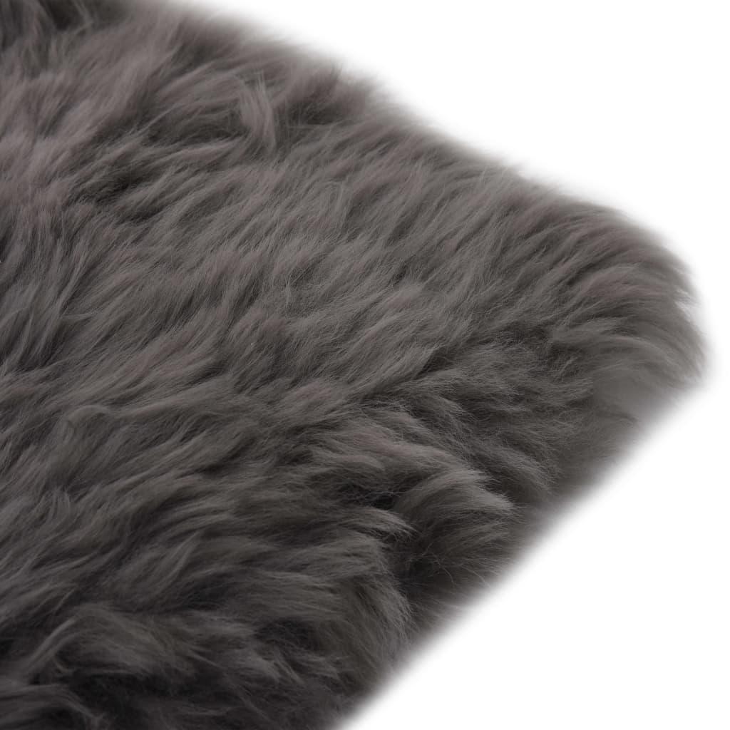 vidaXL Învelișuri scaun 2 buc. gri deschis piele oaie naturală 40x40cm