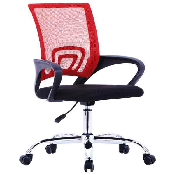 vidaXL Scaun de birou cu spătar din plasă, roșu, material textil