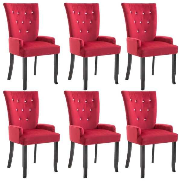 Scaun de bucătărie cu brațe, 6 buc., roșu, catifea