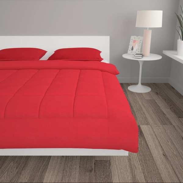 vidaXL Set pilotă iarnă 3 piese roșu burgund 240×220/60×70 cm textil