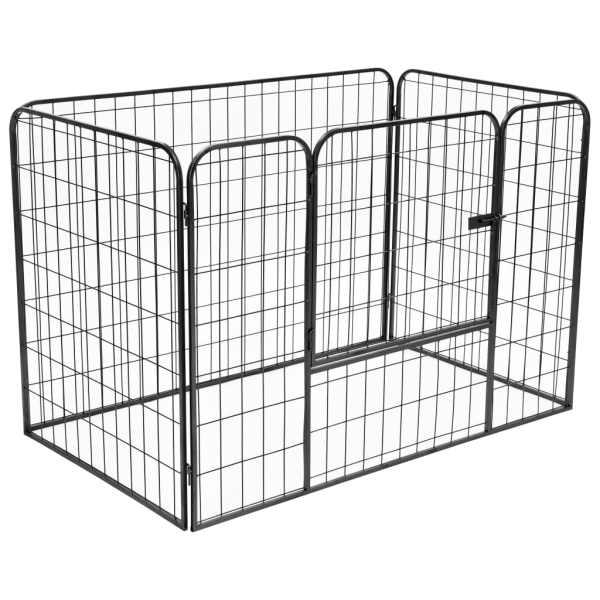 vidaXL Țarc solid pentru câini, negru, 120x80x70 cm, oțel