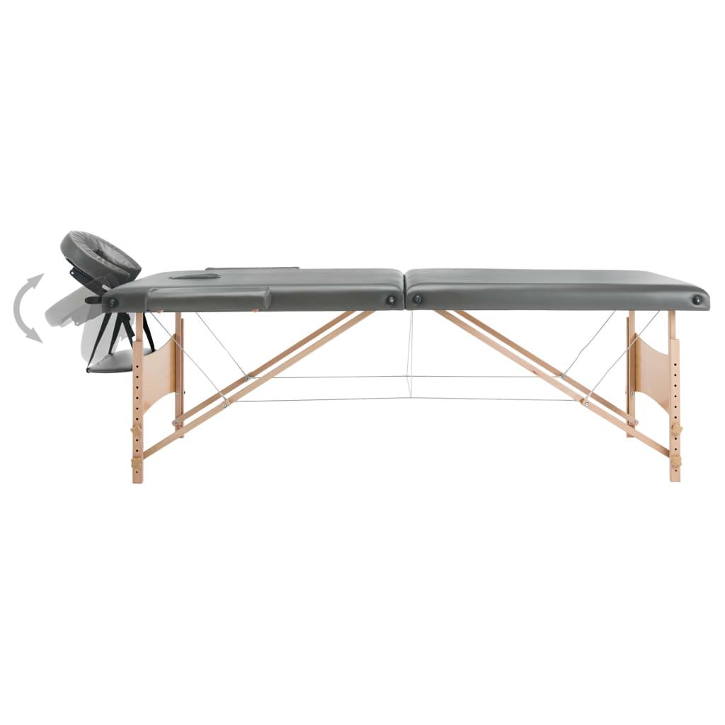 Masă de masaj cu 2 zone, cadru din lemn, antracit, 186 x 68 cm