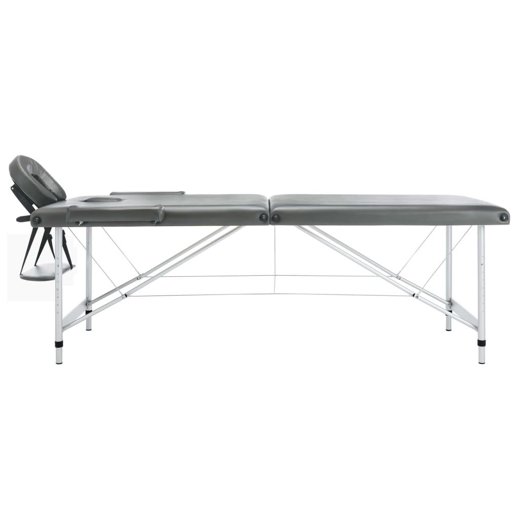 Masă de masaj cu 2 zone, cadru aluminiu, antracit, 186 x 68 cm
