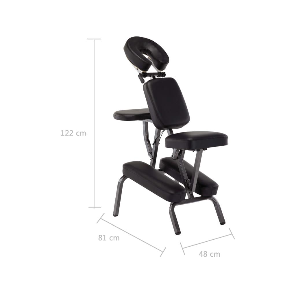 vidaXL Scaun de masaj, negru, 122x81x48 cm, piele ecologică