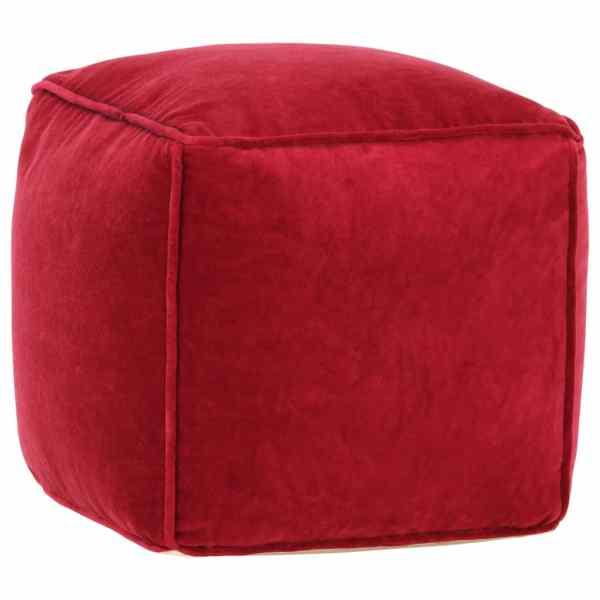 vidaXL Fotoliu puf, roșu rubin, 40 x 40 x 40 cm, catifea de bumbac