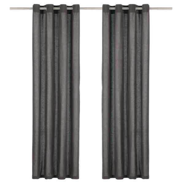 vidaXL Perdele cu inele metalice, 2 buc., antracit, 140×225 cm, bumbac