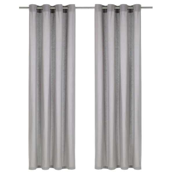 vidaXL Perdele cu inele metalice, 2 buc., gri, 140 x 175 cm, bumbac