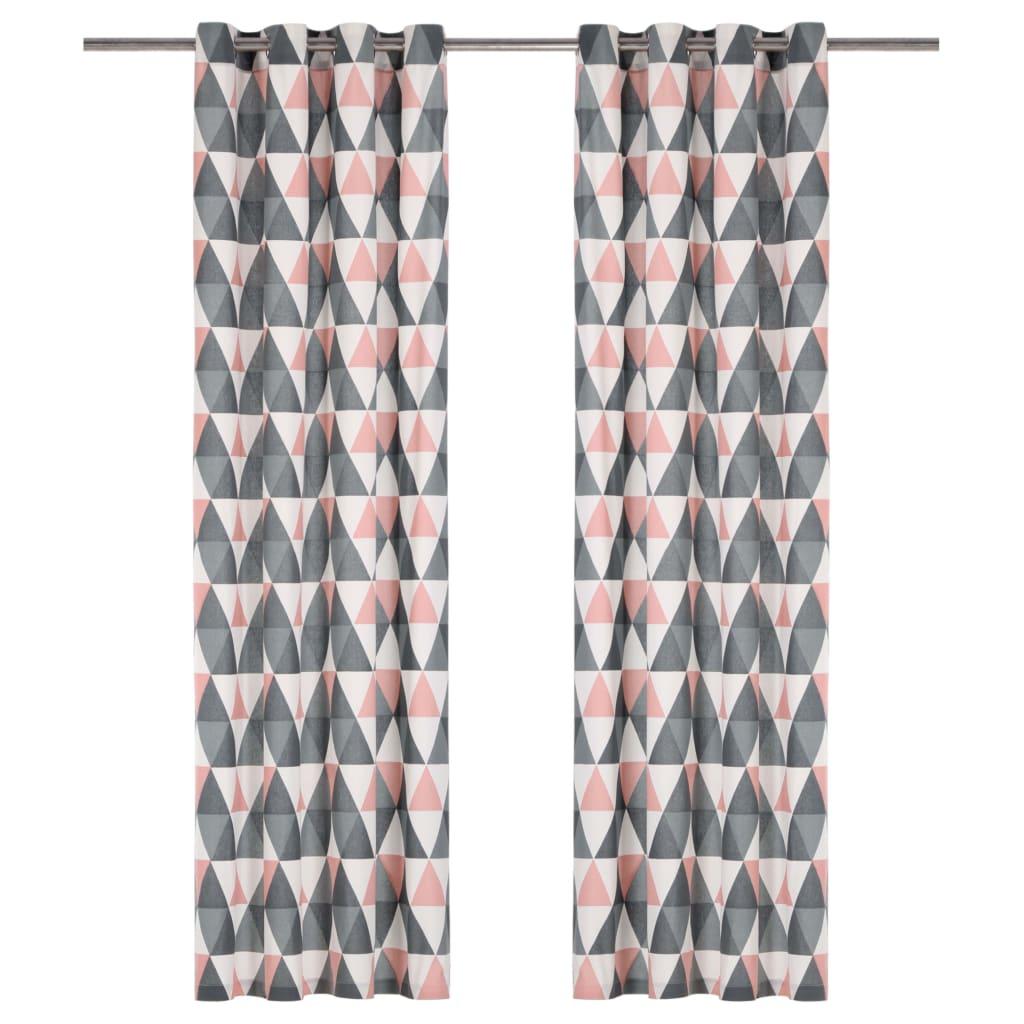 vidaXL Perdele cu inele metalice, 2 buc, gri & roz, 140×245 cm, bumbac