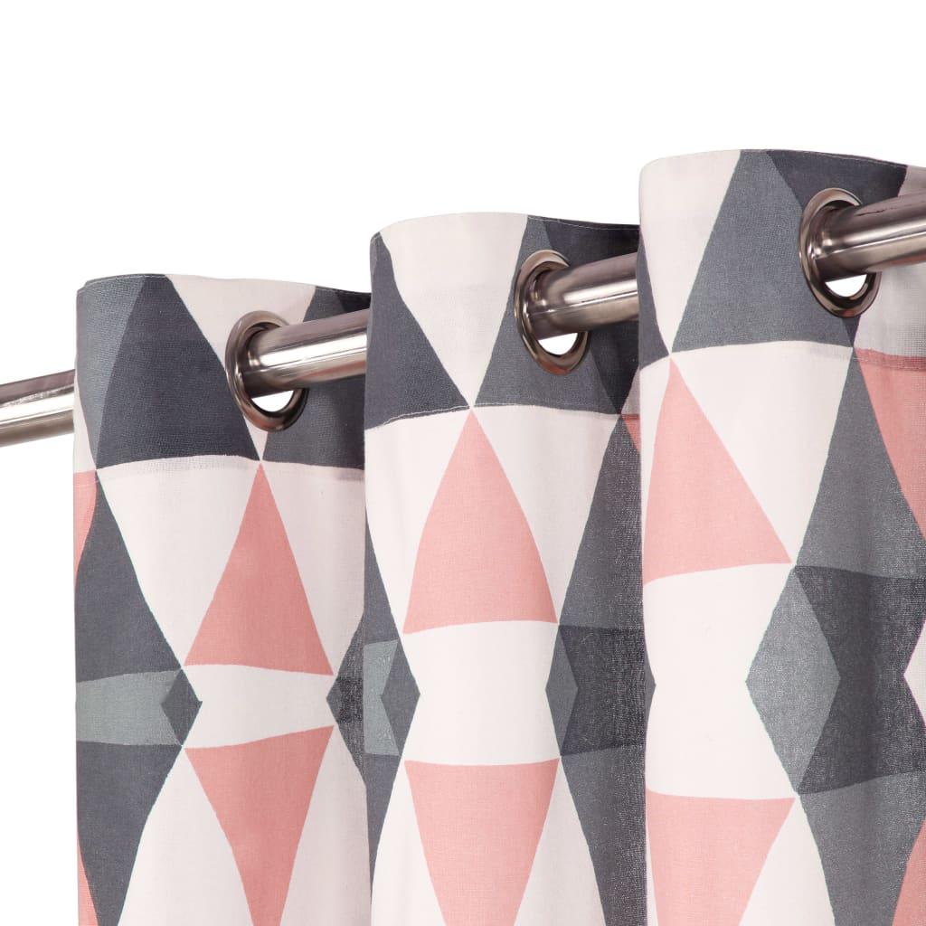 Perdele cu inele metalice, 2 buc, gri & roz, 140×245 cm, bumbac
