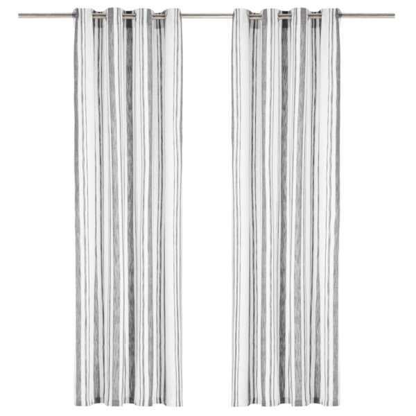 vidaXL Perdele cu inele metalice, 2 buc., antracit, 140×245 cm, bumbac
