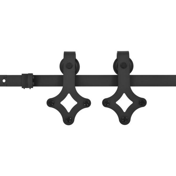 Set feronerie pentru uși glisante, negru, 183 cm, oțel