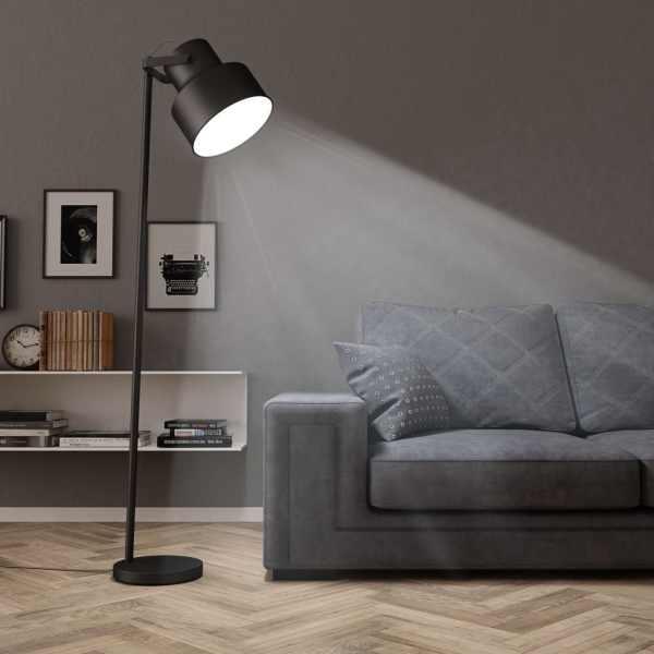 vidaXL Lampă de podea, negru, metal, E27