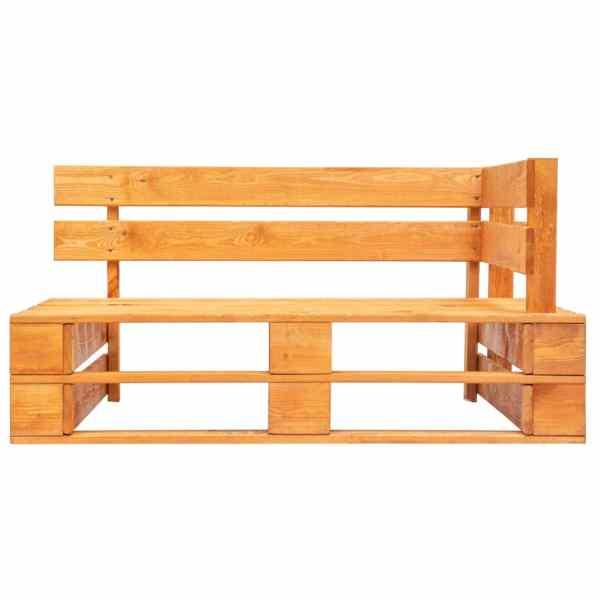 Bancă de colț din paleți de grădină, maro miere, lemn