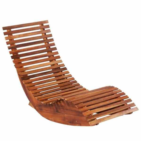 vidaXL Șezlonguri balansoar de plajă, 2 buc., lemn masiv de acacia