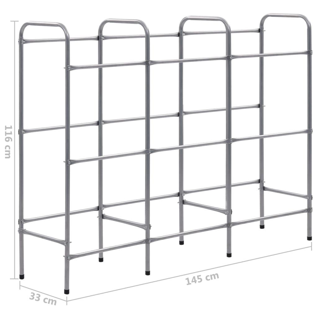vidaXL Raft de depozitare pentru 9 lăzi, argintiu, 145x33x116 cm, oțel