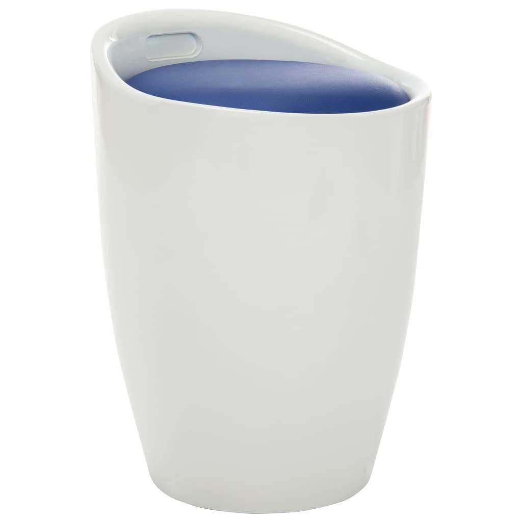 vidaXL Scaun cu depozitare, alb și albastru, piele ecologică