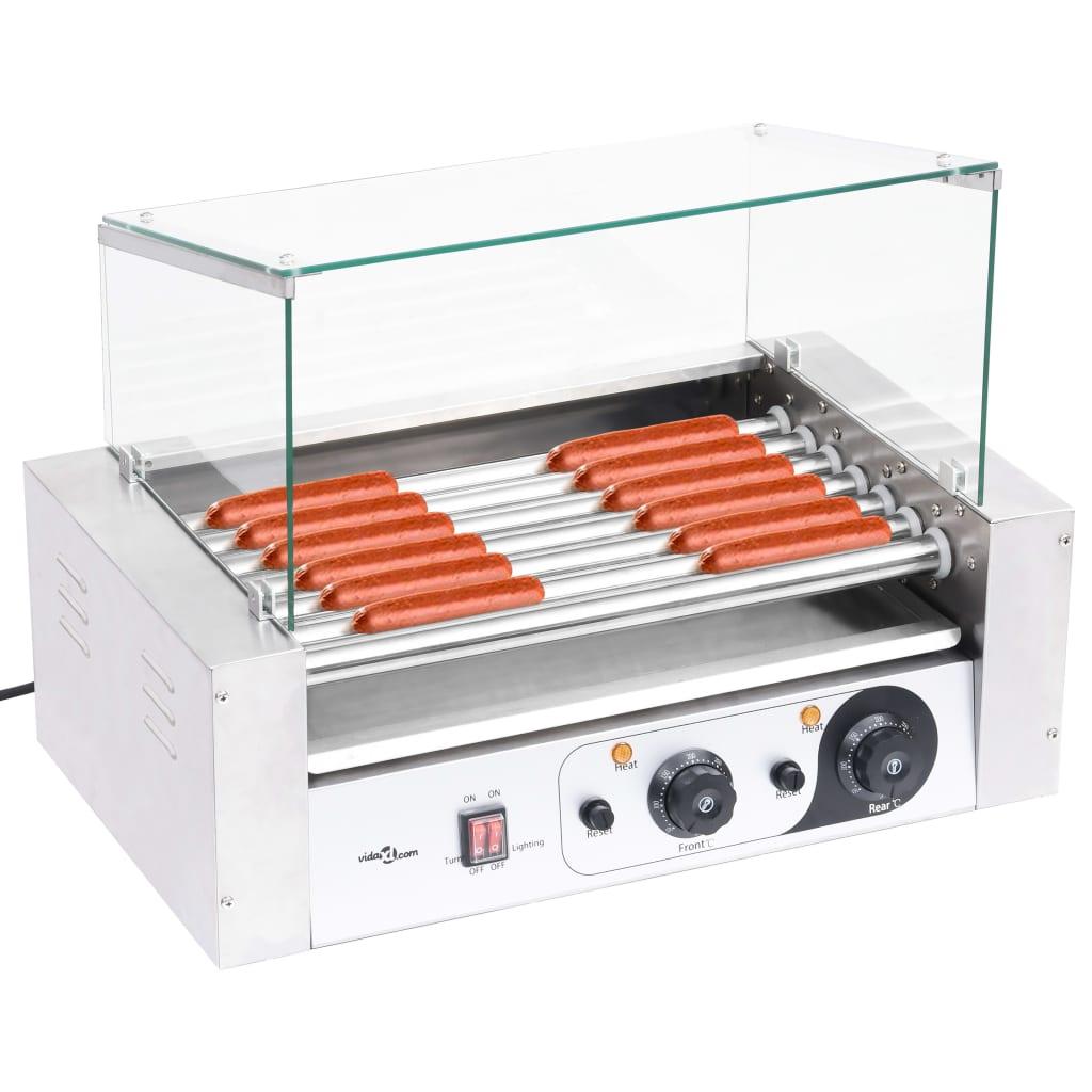 Aparat hot-dog 7 role cu capac din sticlă 1400 W