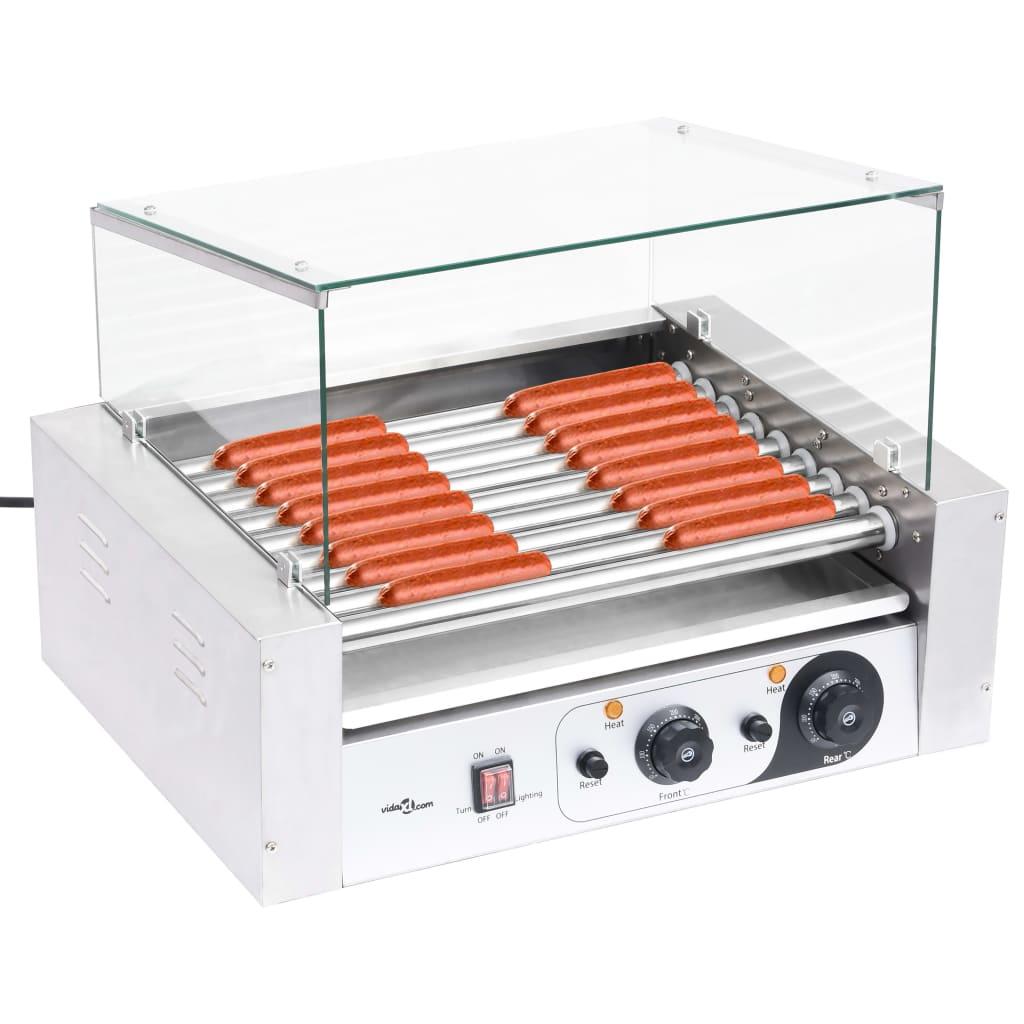 vidaXL Aparat hot-dog 9 role cu capac din sticlă 1800 W