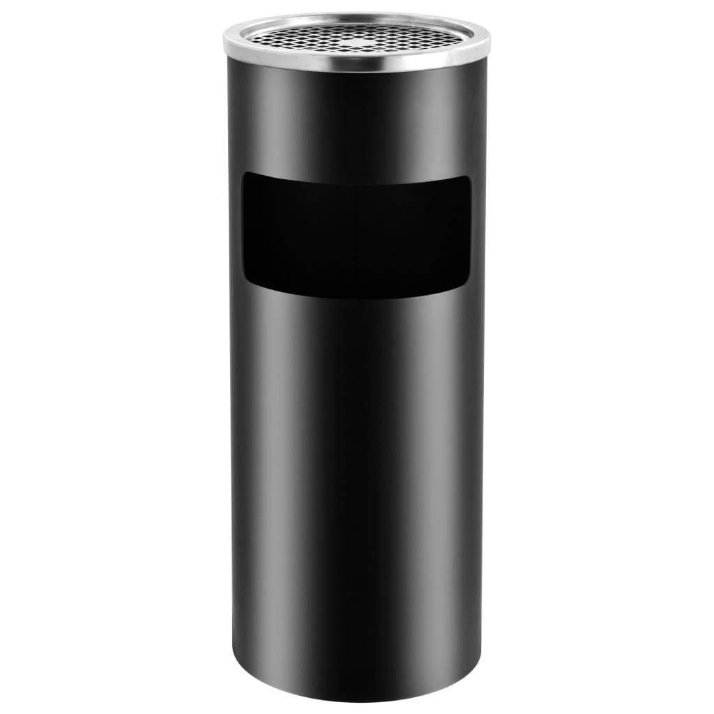 Coș de gunoi cu scrumieră, pentru hotel, negru, oțel, 30 L