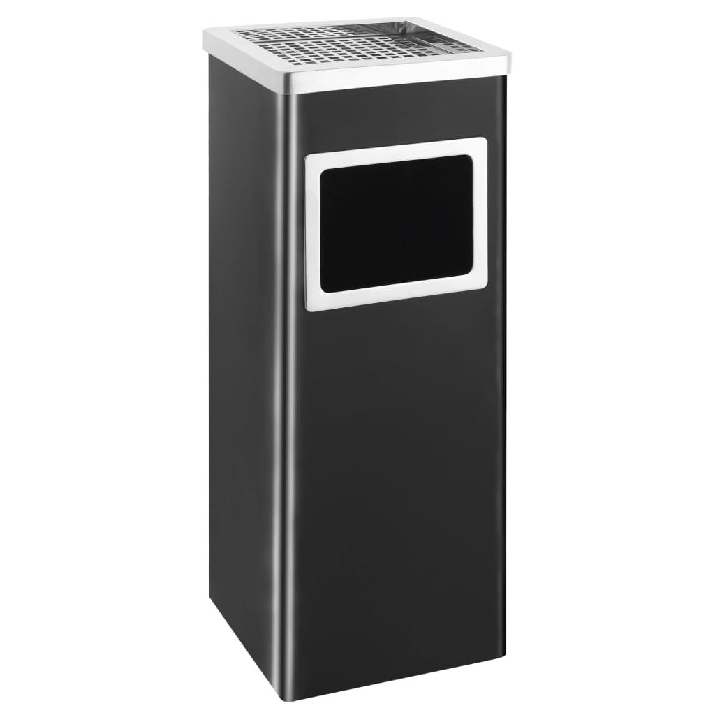vidaXL Coș de gunoi cu scrumieră, pentru hotel, negru, oțel, 36 L