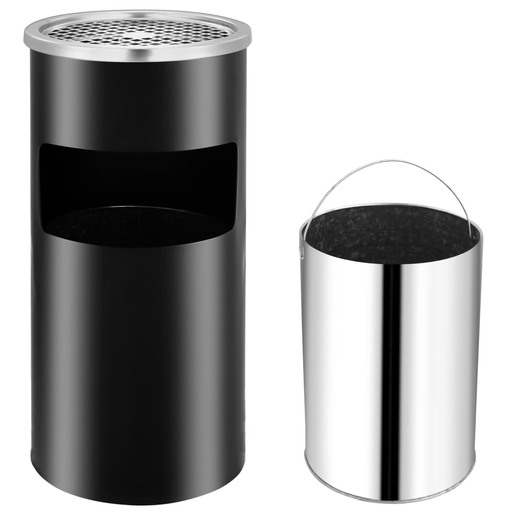 vidaXL Coș de gunoi de perete cu scrumieră, negru, oțel, 26 L