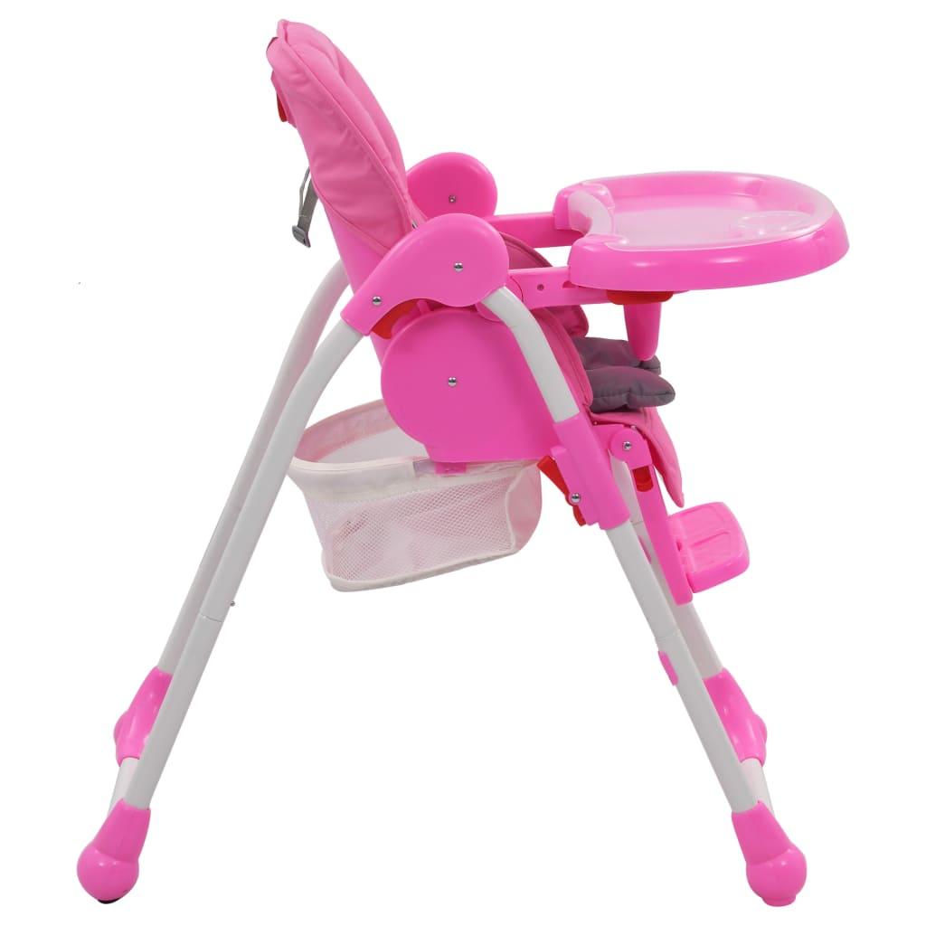 Scaun de masă înalt pentru copii, roz și gri