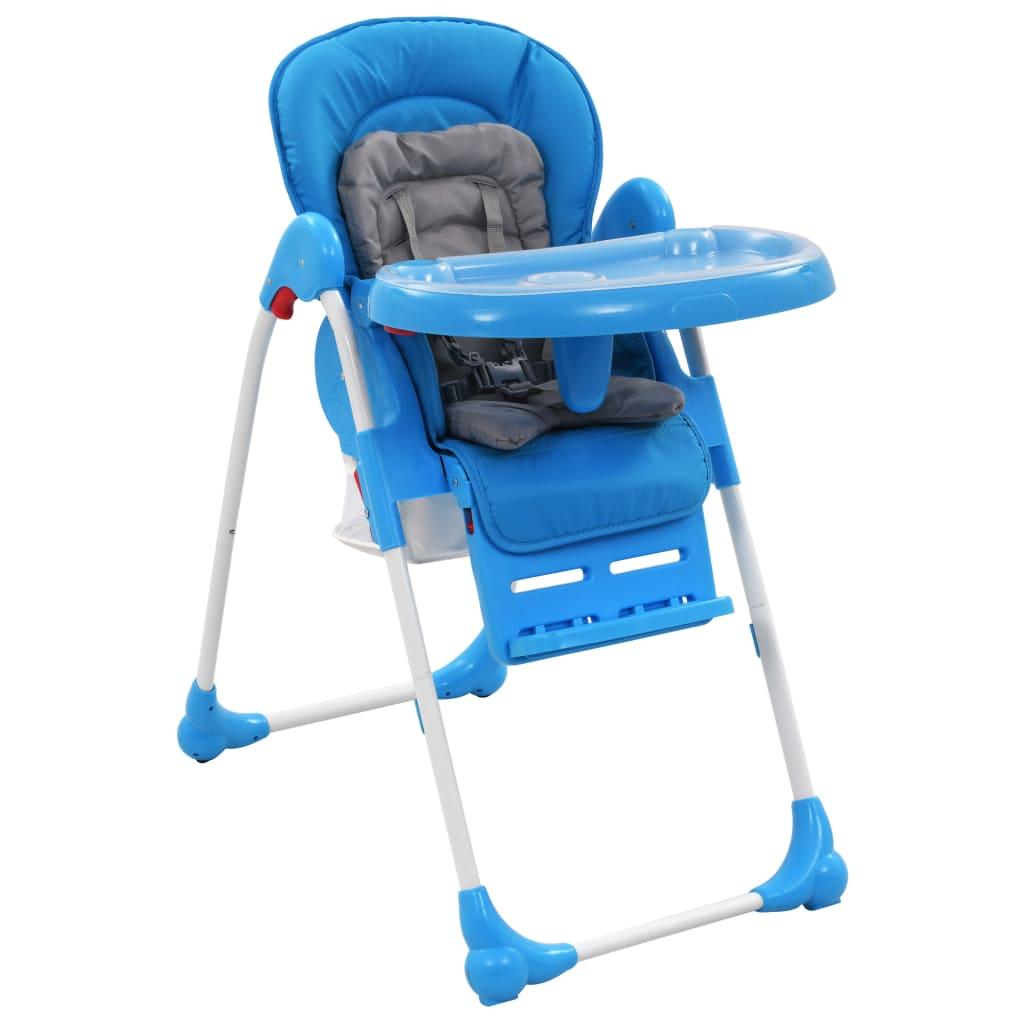 vidaXL Scaun de masă înalt pentru copii, albastru și gri