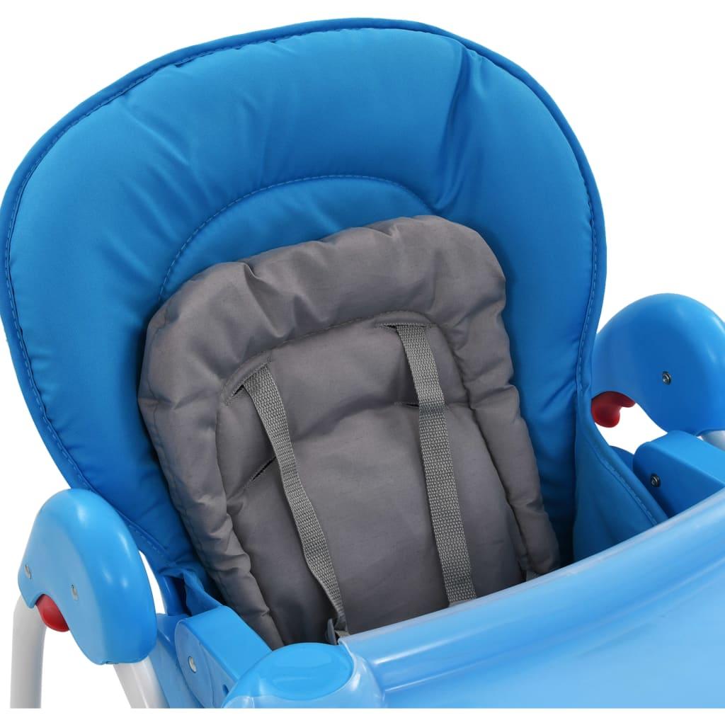 Scaun de masă înalt pentru copii, albastru și gri