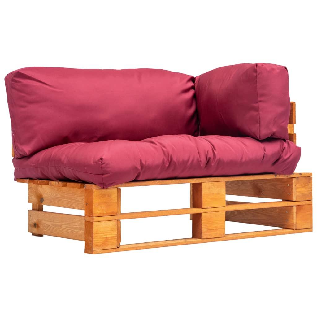 vidaXL Canapea de grădină din paleți cu perne roșii, lemn pin