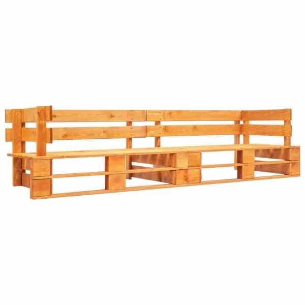 vidaXL Canapea de grădină cu 2 locuri din paleți, maro miere, lemn