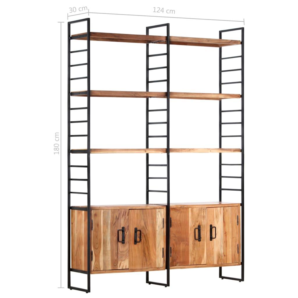 Bibliotecă cu 4 rafturi, 124 x 30 x 180 cm, lemn masiv de acacia