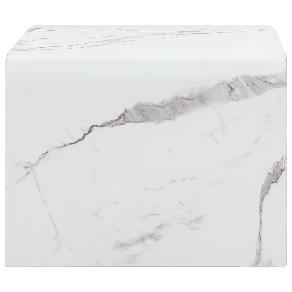Măsuță de cafea, marmură albă, 50x50x45 cm, sticlă securizată