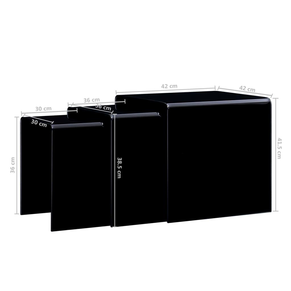 Mese cafea suprapuse, 3 buc., negru, 42 x 42 x 41,5 cm, sticlă