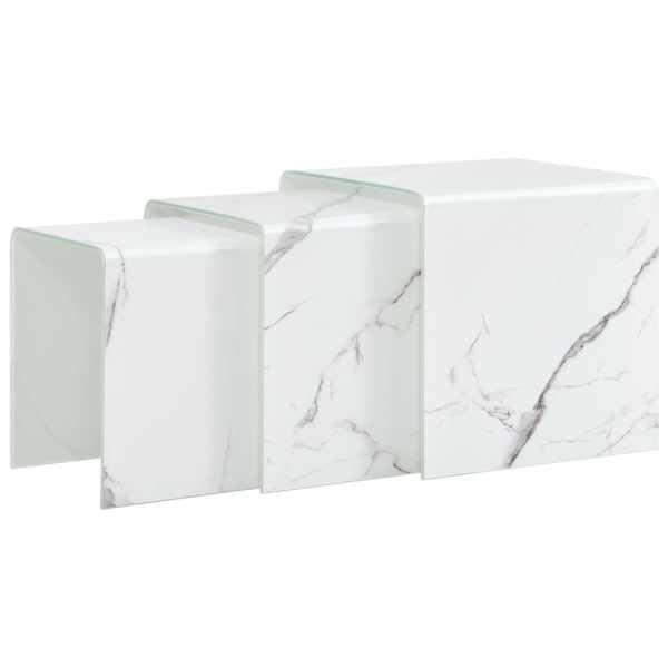 vidaXL Mese cafea suprapuse 3 buc., alb marmură, 42x42x41,5 cm, sticlă